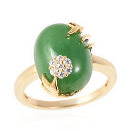 AAA Green Jade (Ovl 16x12mm), Natural Cambodian Zircon Floral Ring in Yellow Gold Plated Sterling Si