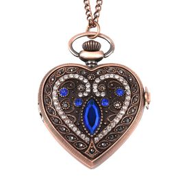 STRADA Japanese Movement Water Resistant Multi Colour Austrian Crystal and Simulated Blue Sapphire Heart Pocket Watch with Chain in Rose Gold Plating