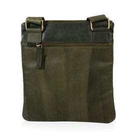MCS Country Classics: 100% Genuine Leather Unisex Crossbody Messenger Bag (26 x 28 Cms)- Dark Green