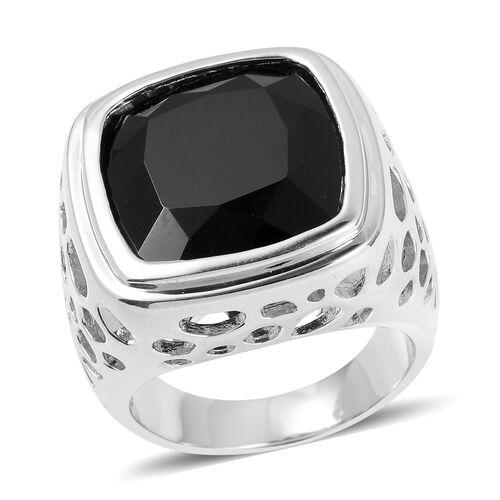 RACHEL GALLEY 21.52 Ct Boi Ploi Black Spinel Lattice Ring in Rhodium Plated Silver 11.93 Grams