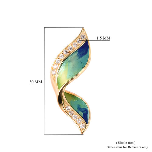 GP - Natural Cambodian Zircon and Blue Sapphire Enamelled Butterfly Wing Stud Earrings (with Push Back) in Yellow Gold Overlay Sterling Silver