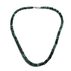 189 Ct Emerald Sakota Beaded Necklace in Platinum Plated Silver 20 Inch