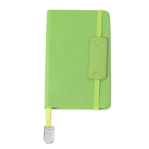 4 Piece Set - A5,A6 Notebook (Size 14.5x21 and 9x14 Cm) and 2 Crystal Filled Pens - Green