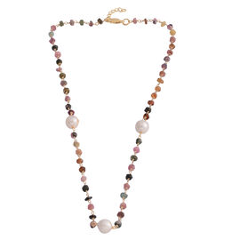 Designer Inspired- Fresh Water Baroque Pearl and Rainbow Tourmaline Beads Necklace (Size 19) in Yellow Gold Overlay Sterling Silver 32.750 Ct