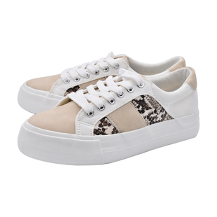 White and Beige Canvas Trainers with Snake Pattern Details