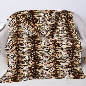 Soft Coral Fleece Tiger Pattern TV Blanket with Sleeves and Pocket (Size 140x180 Cm) - Black, Brown and Beige Colour