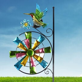 Garden Theme Hummingbird Pattern Wind Spinner with Solar Light (Size 28x7x117cm) - Green and Multi