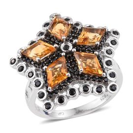 GP Citrine (Kite), Boi Ploi Black Spinel and Kanchanaburi Blue Sapphire Ring in Platinum Overlay Sterling Silver 4.250 Ct.