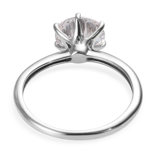 J Francis - Platinum Overlay Sterling Silver (Rnd) Solitaire Ring Made with SWAROVSKI ZIRCONIA 3.30 Ct.