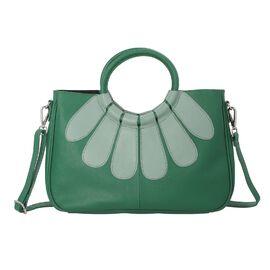 100% Genuine Leather Satchel Bag - Dark Green