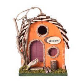 Handmade Wooden Bird House (Size 17x13x21 Cm) - Orange