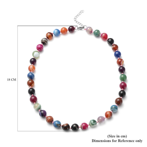 Multi Agate (Rnd 11-13mm) Beads Necklace (Size 20 with 2 inch Exrender) in Stainless Steel 422.50 Ct.