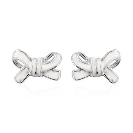 Platinum Overlay Sterling Silver Bow Enamelled Stud Earrings (with Push Back)