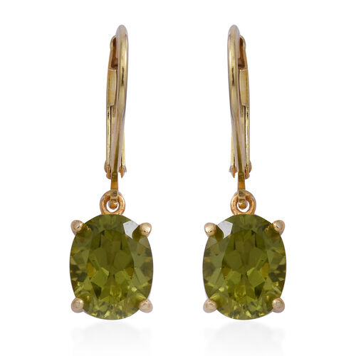 Hebei Peridot (Ovl) Lever Back Earrings in Yellow Gold Overlay Sterling Silver 4.00 Ct.
