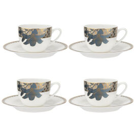 Set of 4 - Royal Worcester Blue Lily Tea Cup (6.5cm) and Saucer (17cm)