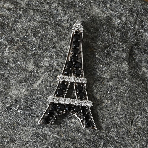 Boi Ploi Black Spinel (Rnd), Natural Cambodian Zircon Eiffel Tower Pendant in Platinum Overlay with Black Plating Sterling Silver 1.250 Ct.
