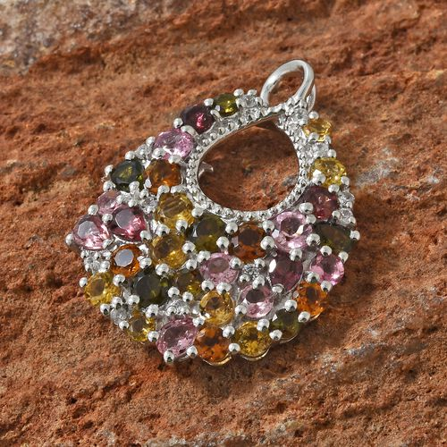 Rainbow Tourmaline (Rnd and Pear), Natural Cambodian Zircon Infinity Loop Pendant in Platinum Overlay Sterling Silver 4.000 Ct.