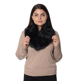 Fluffy Faux Fur Collar Scarf (Size 15x88 Cm) - Black