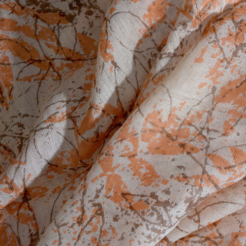 White, Orange and Multi Colour Leaves Printed Scarf with Tassels (Size 180X70 Cm)