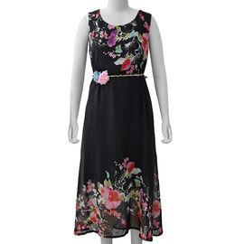 Black Colour Plum Blossom Flower Pattern One Piece Dress
