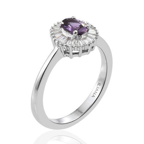 ILIANA 18K White Gold Natural Unheated Purple Sapphire (Ovl), Diamond (SI/G-H) Ring 1.000 Ct.