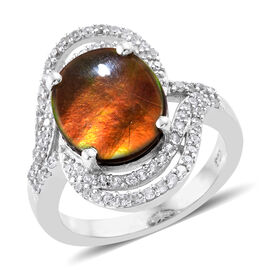 AA Canadian Ammolite (Ovl 12x10 mm), Natural Cambodian Zircon Ring in Platinum Overlay Sterling Silv