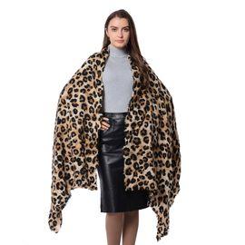 Designer Inspired -  Leopard Print Cream, Black and Brown Scarf (Size 190x75 Cm)