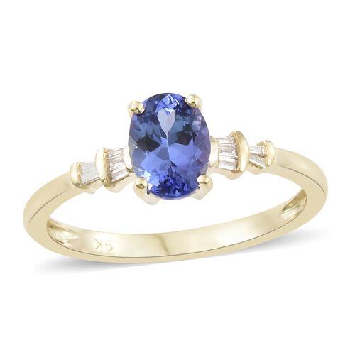 1.10 Ct Tanzanite and Diamond Ring in 9K Gold