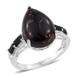 Arizona Mojave Black Turquoise (Pear 7.95 Ct), Boi Ploi Black Spinel Ring in Sterling Silver 8.500 C