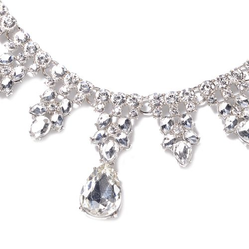 Simulated Diamond (Pear), White Austrian Crystal Necklace (Size 20 with 4 inch Extender) and Earrings (with Push Back) in Silver Plated