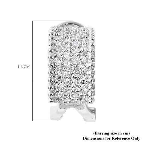 ELANZA Simulated Diamond French Clip Earrings in Rhodium Overlay Sterling Silver
