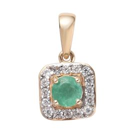 9K Yellow Gold AA Brazilian Emerald (Rnd), Natural Cambodian Zircon Pendant 0.65 Ct.