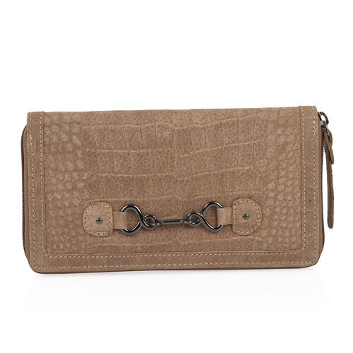 Design Look Horsebit Logo100% Genuine Leather Cholocate Clutch Wallet with RFID Blocking (Size 19x2.