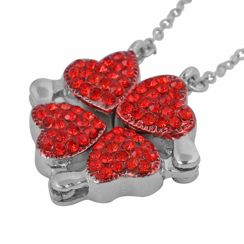 Red Austrian Crystal Rose-Shaped Enamelled Trinket Box and Necklace (Size 18-20 with 3 inch EXtender) with Magnet in Silver Tone