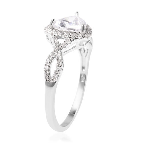 ELANZA Simulated Diamond Ring in Rhodium Overlay Sterling Silver
