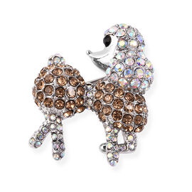 Multicolour Austrian Crystal Poodle Brooch in Silver Tone