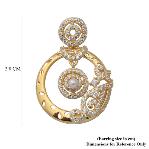 ELANZA Simulated Diamond and Simulated Pearl Pendant in Yellow Gold Overlay Sterling Silver