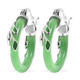 Green Jade Leaf Vine Hoop Enamelled Earrings (with Clasp) in Rhodium Overlay Sterling Silver 17.50 C