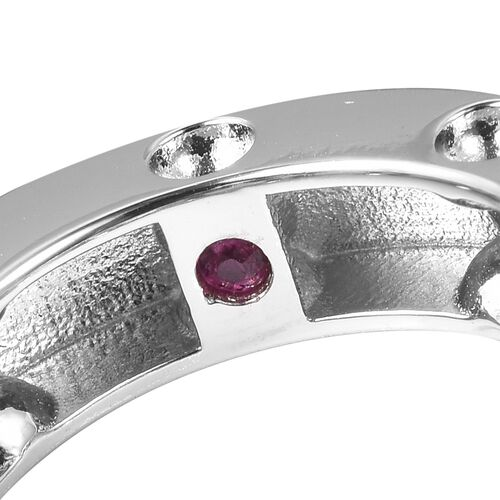 RACHEL GALLEY Majestic Collection Burmese Ruby (Rnd) Circle Pendant With Chain (Size 30) in Yellow Gold Overlay Sterling Silver, Silver wt 11.81 Gms