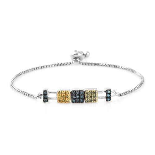 Green, Yellow and Blue Diamond Adjustable Bracelet (Size 6.5 to 9) in Yellow, Green, Blue and Platinum Overlay Sterling Silver 0.330 Ct. Silver wt 6.50 Gms.