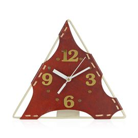 Handcrafted Triangular Leather Table Clock (Size 22.8x20.20 Cm)