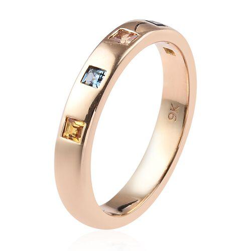 Madagascar Blue Sapphire (0.15 Ct),Sri LankanYellow Sapphire,Orange Sapphire 9K Y Gold Ring  0.370  Ct.