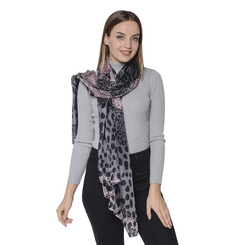 LA MAREY New Collection - 100% Mulberry Silk Leopard Print Scarf (Size 180x110cm) - Grey