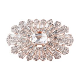 Simulated Diamond (Oct and Bgt), White Austrian Crystal Accessory in Rose Tone