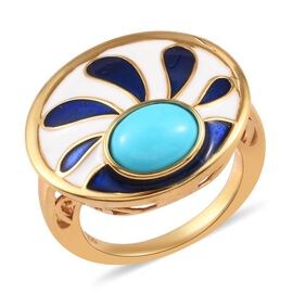 Arizona Sleeping Beauty Turquoise Enamelled Ring in 14K Gold Overlay Sterling Silver 1.50 Ct.