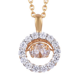 J Francis Made with SWAROVSKI ZIRCONIA Dancing Pendant with Chain in Gold Plated Sterling Silver