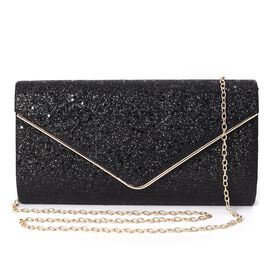 Sequin Clutch Bag with Magnetic Flap Closure and Shoulder Chain Strap (Size 23.5x12x5.5 Cm) - Black