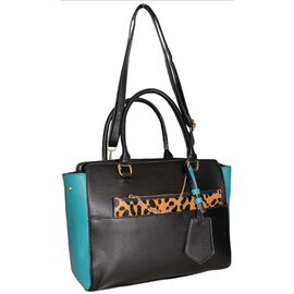 Close Out Deal- Designer Inspired - 2 Piece Handbag Set in Leopard Print with Removable Strap- Turqu