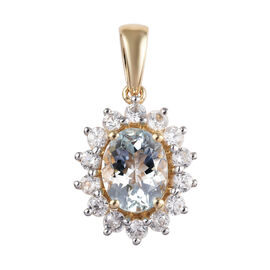 9K Yellow Gold AA Espirito Santo Aquamarine (Ovl 9x7mm), Natural Cambodian Zircon Pendant 2.75 Ct.