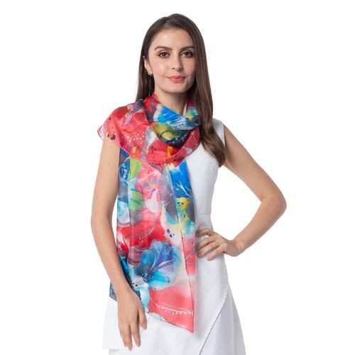 100%  Mulberry Silk Blue and Multi Colour Floral Pattern Scarf (Size 175x53)